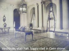 Sorry for the poor picture quality. The room is sheathed in architecturally treated Caen stone, with marble floor. The stairs are through darker doorway at left. The Breakers, Vestibule, Gilded Age, Create Photo, Marble Floor, Historic Homes, Belle Epoque, Dodge, Terrace