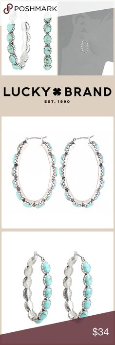 "JUST IN 🆕 'OBLONG' TURQUOISE* HOOPS When you wear these hoop earrings, you'll instantly start smiling. Soon, that smile of yours will inspire others to be cheerful, and by the end of the day, your whole day will chirp with captivation!  ▪️Silver-tone hoops with *turquoise-colored stones ▪️Snap-bar closure ▪️Width: 1/4"" ▪️Height: 1 3/4"" ▪️Diameter: 1""  🛍BUNDLE=SAVE  🚫TRADE🚫HOLD  💯Brand Authentic  ✈️Ship Same Day--Buy By 2PM PST  🖲USE OFFER BUTTON TO NEGOTIATE   ✔️Ask Questions Not…"