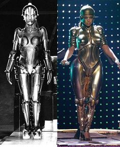 The evil Maria; an android controlled by the occult scientist Rotwang in the film Metropolis (1929) on the left.  She befools  the masses by pretending to be the good Maria while leading people into a hedonistic immoral life / emulated here by Beyoncé  and Madonna in one of her videos too. Lots of other musicians, songs & films pay homage to Fritz Lang's Metropolis also such as Queen's radio GaGa video.