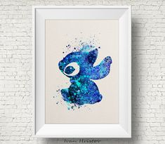 Abstract Blue Stitch, Lilo & Stitch disney - watercolor, Art Print, Giclee, Watercolor Print, poster, Home Decor, kids art