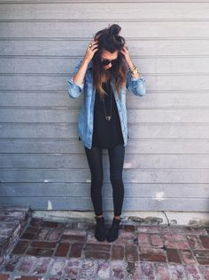 chambray button-down + tee + long necklace + coated denim + ankle boots