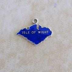 Blue Enamel Isle of Wight Map Vintage Silver Bracelet Charm by Charmcrazey on Etsy