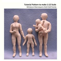 Download PDF sewing pattern tutorial for 6(15cm) man, 5.5(14cm) woman, 4(10cm) child, and 2(5cm) baby. These 1:12 scale mini mannequins have flexible wire armatures, needle sculpted details, and natural proportions. Basic sewing skills by hand and machine are required. Detailed drawings and step-by-step instructions are given for making armatures, sewing, stuffing, and shaping the figure. Recommended fabrics: Use a fine knit fabric with moderate stretch, about 40% across and 20% lengthwise…