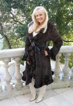 mahogany knitted mink coat with ruffles.
