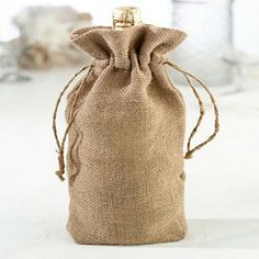 Burlap Chic Wedding Reception Wine Bag (Set of 6)