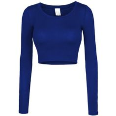 LE3NO Womens Lightweight Long Sleeve Scoop Neck Crop Top ($9.99) ❤ liked on Polyvore featuring tops, shirts, blue top, scoopneck top, long sleeve crop top, stretch top and lightweight tops