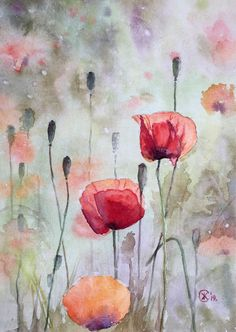 Watercolor on paper No framing. Watercolor Flowers Tutorial, Watercolor Poppies, Watercolor Cards, Watercolor Illustration, Poppies Painting, Poppies Art, Poppies Tattoo, Watercolor Painting Techniques, Painting & Drawing