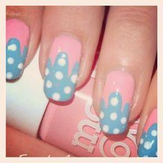 pink & blue polkadot mani