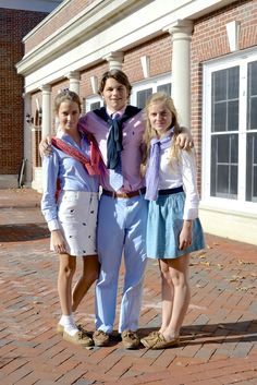 """This """"preppy"""" look was popular around the 70's-90's. We learned about the preppy this week in class and the color choices and button up shirts describe the trend, """"preppy"""". The look was inspired by the ivy league look. 4/5/16."""