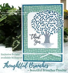 Created with the Limited Edition Thoughtful Branches stamp set and Beautiful Branches Thinlits Dies ... DSP is Blooms & Bliss. #thoughtfulbranches http://senseofwhimsy.com.au/2016/07/23/thoughtful-branches-limited-time-bundle/