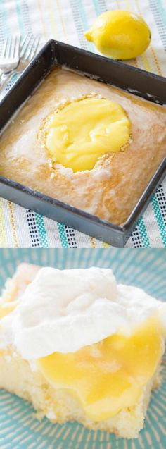 This Lemon Curd Cream Cake recipe from Willow Bird Baking is the best cake ever, topped with a lemon glaze and full of buttery, sweet, tart lemon curd and fluffy homemade whipped cream!