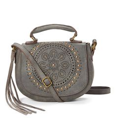 Another great find on #zulily! Gray Laser-Cut Crossbody Bag #zulilyfinds