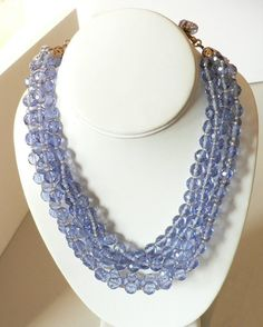 Miriam Haskell Lavender Blue Glass Crystal Necklace