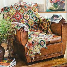 Vintage crochet blanket   Happy in Red