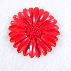 Vintage 1960s Red Enamel Flower Brooch. Daisy by ElizaBellaDesigns