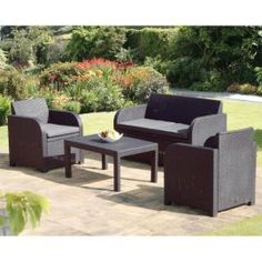 Rattan Garden Furniture Tesco roscana teak wooden 6 seater dining set: image 2 | garden