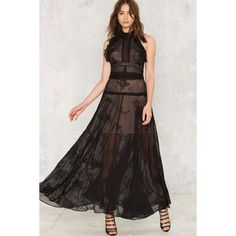 Nasty Gal Got the Flirt Maxi Dress (497.280 COP) ❤ liked on Polyvore featuring dresses, black, sleeveless maxi dress, floral dresses, lace maxi dress, sleeveless dress and high neck maxi dress