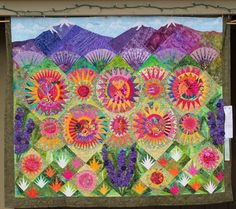 Radiant New York Beauty Quilt- with mountains in the background Machine À Quilter, Sewing Machine Quilting, Lap Quilts, Mini Quilts, Quilt Blocks, Paper Piecing Patterns, Applique Patterns, Quilt Patterns, New York Beauty