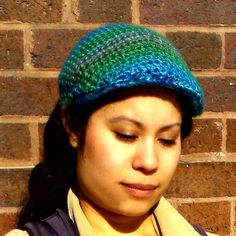 Crochet Flat Cap  Jewel toned green blue by ElevatedFibers on Etsy