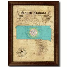 South Dakota State Vintage Flag Home Decor Office Wall Art Gift Ideas
