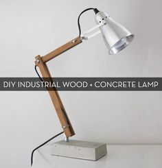 #DIY Industrial-Modern Wood and Concrete Table Lamp! #awesome