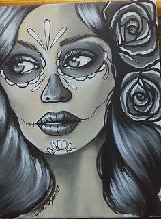ORIGINAL-PAINTING-11x14day-of-the-dead-dia-de-los-muertos-tattoo-art-sugar-skull