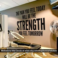 Exercise Stickers Gym Wall Decal Workout Stickers Fitness Stickers Wall Decals Gym Exercise Motivational Quote SKU:TPYFT Home gym ideas Home Gym Decor, At Home Gym, Fun Workouts, At Home Workouts, Gym Quotes Inspirational, Motivational Quotes, Workout Room Home, Wall Workout, House Workout