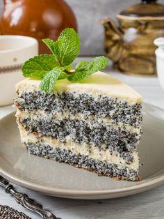 Маковый торт с заварным кремом Ukrainian Desserts, Russian Desserts, Russian Recipes, Delicious Cake Recipes, Yummy Cakes, Sweet Recipes, Yummy Food, Pie Dessert, Dessert Recipes