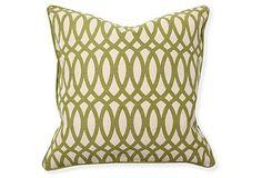 Geo 22x22 Cotton Blend Pillow, Green on OneKingsLane.com