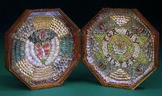 A 19TH CENTURY CASED PAIR OF SAILOR'S SHELLWORK VALENTINES.