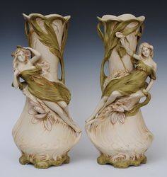 """Pair of Royal Dux Art Nouveau Vases 19 3/8"""" high early 20th century SELLING SEPTEMBER 22ND www.fairfieldauction.com"""