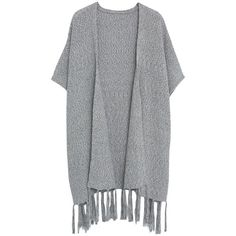 Violeta by Mango Fringed Cotton Poncho, Grey ($110) ❤ liked on Polyvore featuring outerwear, lightweight poncho, plus size poncho, fringe poncho, cotton poncho and grey poncho