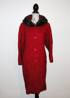 Vintage 1950s Coat Lipstick Red with Fur by CheekyVintageCloset, $64.00
