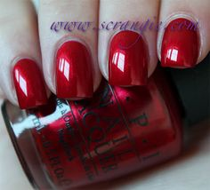 Danke-Shiny Red by OPI, Germany Collection, Autumn want want! I thi… Danke-Shiny Red by OPI, Germany Collection, Autumn want want! I think this might be really similar to 'I'm not really a waitress' by OPI (one of my all time faves! Opi Red Nail Polish, Opi Nail Colors, Opi Nails, Nail Polishes, Bling Nails, Color Nails, Shellac, Beautiful Nail Designs, Colorful Nail Designs