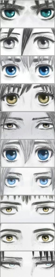 Eren, Mikasa, Armin, Sasha, Ymir, Christa, Annie, Jean, Marco, Levi (Rivaille)