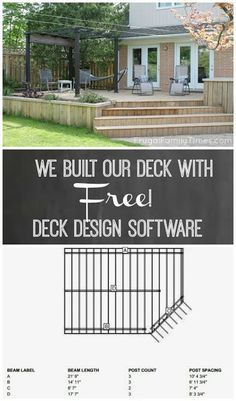 Designing our deck with free online deck design software. Simple to use and lets you try out all your ideas. Build you deck for less - and also helps with comparing costs of different materials. Even gives you a materials list for comparison shopping. Building Design Plan, Deck Building Plans, Deck Design Plans, Yard Design, Diy Design, Deck Cost, Pergola Cost, Cost Of Decking, Pergola Plans