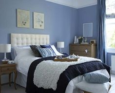 Charmant Blue Bedroom Decoration With Beige Accent On Wall