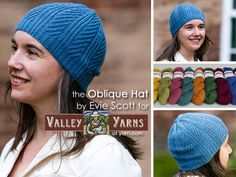 The Oblique Hat from Valley Yarns. Learn more about the yarn, the design, and where you can get your copy of the pattern on the WEBS Blog at blog.yarn.com