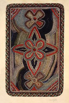 This rug, from Pleasant Hill, Kentucky, shows an exuberant decorative pattern not found in rug designs of the New England communities. Shakers used several techniques for rug-making, including braiding, tufting, and shirring. In each case, wool threads or pieces of woolen cloth were sewn to a cloth base. This rug was made with dyed rags shirred and sewn to a gunny sack backing. Shaker rugs were often colorful and the designs lively.