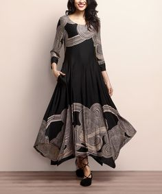 Loving this Black & Taupe Cloud Handkerchief Maxi Dress on #zulily!