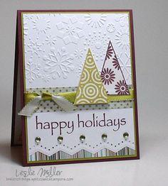 Christmas trees on snow card