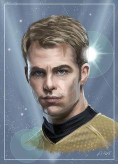 Star Trek: Captain James T. Kirk (Kelvin Timeline) by Dahkur Timeline Movie, Science Fiction, James T Kirk, Star Trek Characters, Numbers For Kids, Weird Creatures, Sci Fi Fantasy, Character Illustration, New Movies