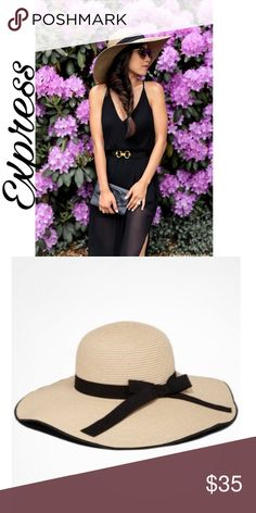 🍁🍂Express Beach Bow Hat 🍁🍂 Super cute and fashionable beach hat. Has a bow and in color tan & black🍁🍂🍃 Express Accessories Hats