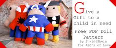 Give a Gift to a Child in Need {free pattern} - Shwin&Shwin  super hero doll pattern free pdf and sewing tutorial