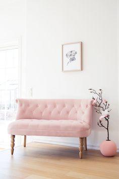 Pink velvet sofa!