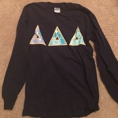 Tri Delta Long Sleeve Letter Shirt Navy long sleeve letter shirt with purple and blue lettering with yellow stitching. Very well made! From a boutique in NC. Tops Tees - Long Sleeve