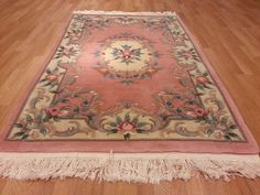 4x6 Chinese Aubusson Hand Knotted Wool Pink Actual Size 4'0x6'0 Rug Carpet Free Ship Rug Tycoon Aubusson Rugs, Chicano, Rugs On Carpet, Wool Rug, Rug Size, Area Rugs, Chinese, Ship, Kitchen Dining
