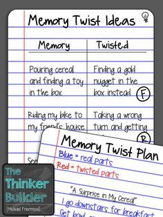 """Check out my post about having your students write """"Memory Twist"""" stories. LOVE this idea!"""