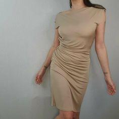 L.K Bennett Size 12 Beige Nude Bodycon Drape Back Dress Short Cocktail LK Tan #LKBennett #Bodycon #PartyCocktail