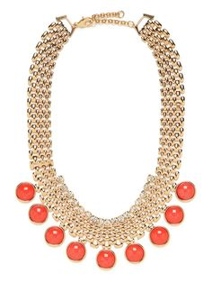 Coral Gem Mesh Bib - Necklaces - Categories - Shop Jewelry | BaubleBar